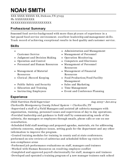 Child Nutrition Field Supervisor resume format Tennessee