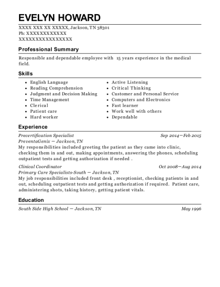 Precertification Specialist resume example Tennessee