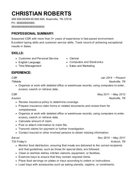 CSR resume example Tennessee