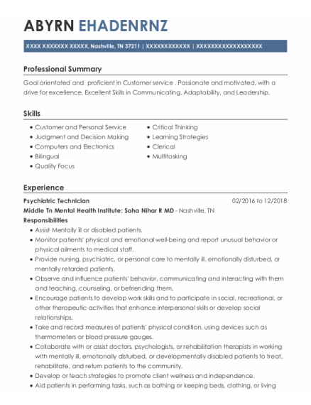 Psychiatric Technician resume example Tennessee