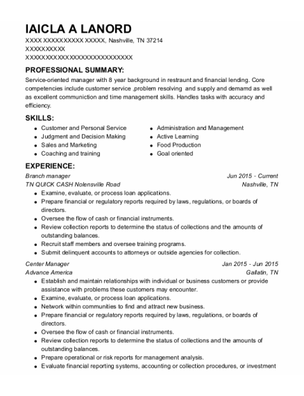 Branch Manager resume example Tennessee