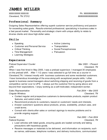 Preload Supervisor resume example Tennessee