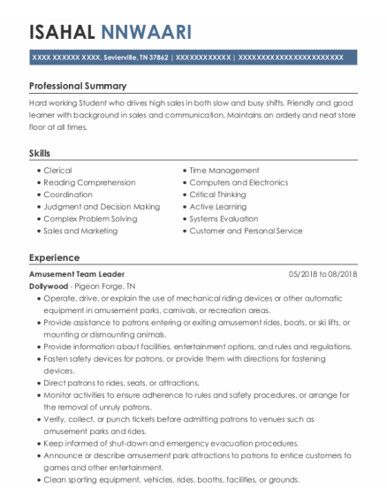 Retail Associate resume example Tennessee