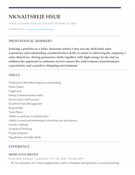 Front Desk Assistant resume template Texas