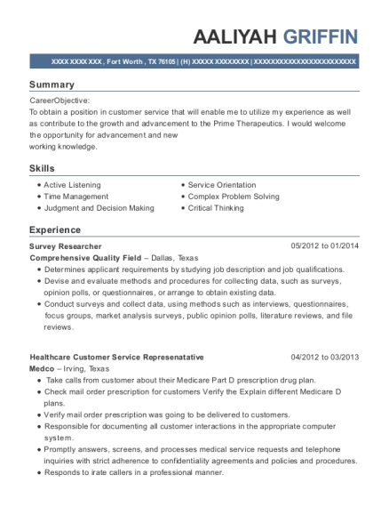 Survey Researcher resume sample Texas