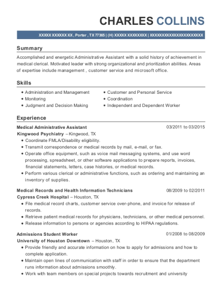 Medical Administrative Assistant resume sample Texas