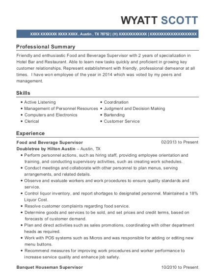 Food and Beverage Supervisor resume template Texas