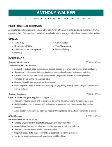 Faith Obrien Inc Contract Landman Resume Sample Resumehelp