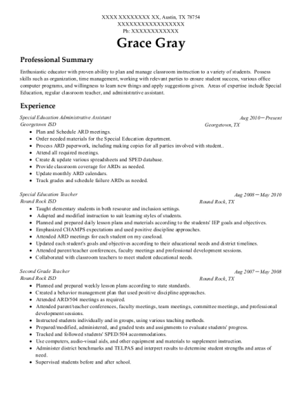 Special Education Administrative Assistant resume template Texas