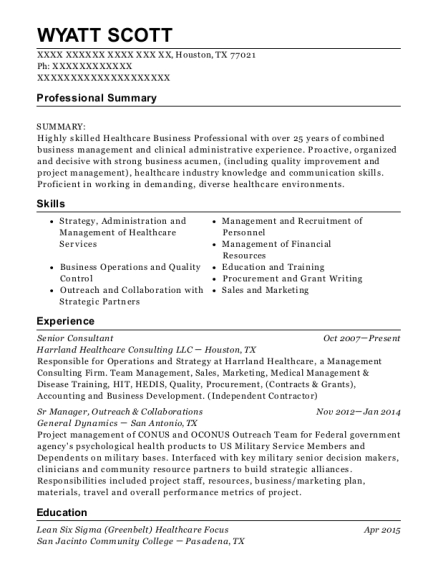 Senior Consultant resume template Texas