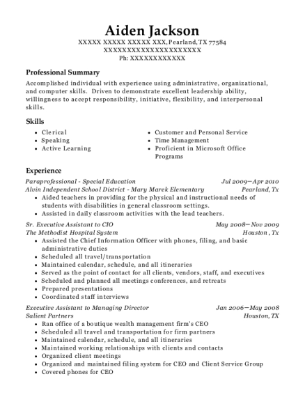 Paraprofessional Special Education resume sample Texas