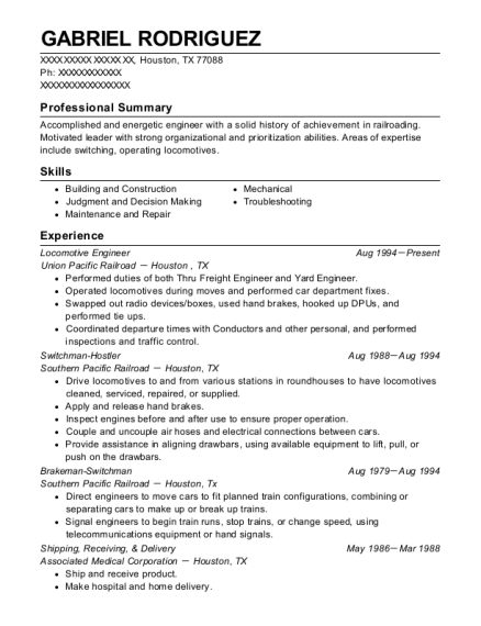 Locomotive Engineer resume sample Texas