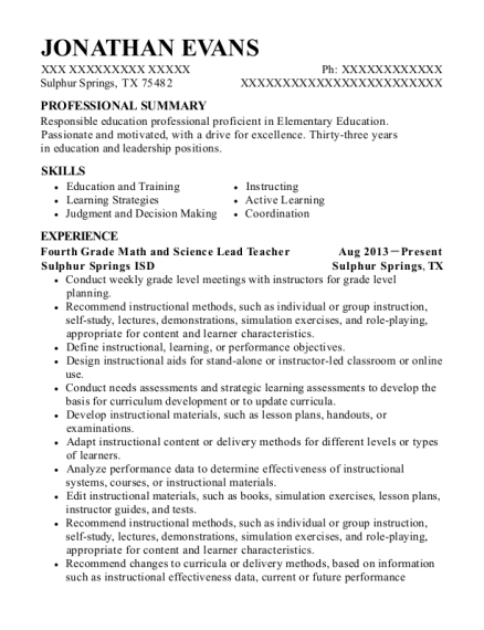Fourth Grade Math and Science Lead Teacher resume example Texas