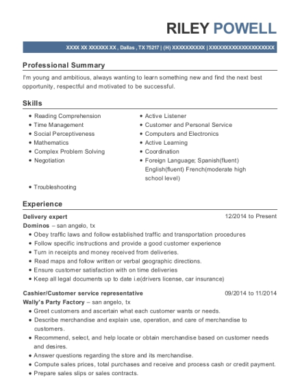 Delivery expert resume format Texas