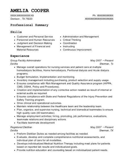 Group Facility Administrator resume example Texas