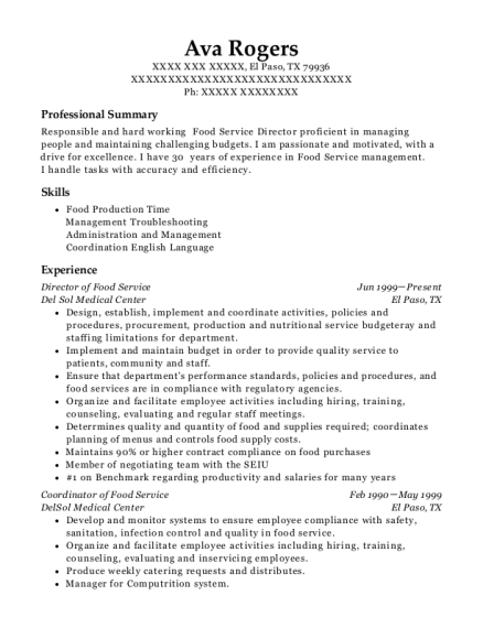 Director of Food Service resume format Texas