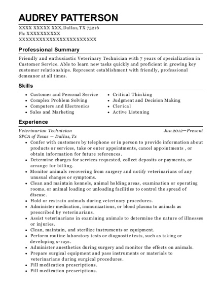 Veterinarian Technician resume sample Texas