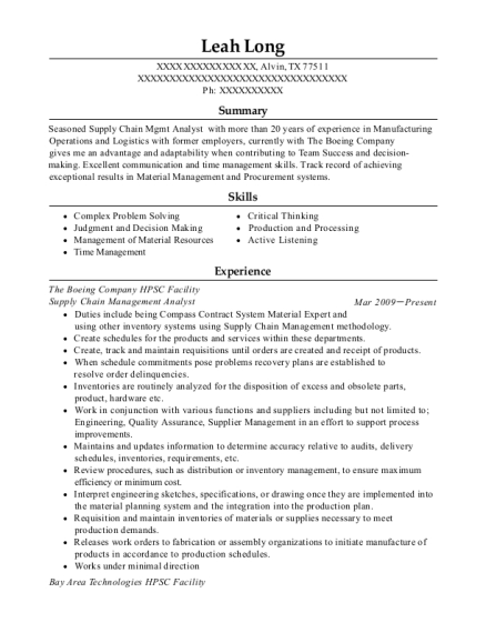 boeing supply chain management analyst resume sample