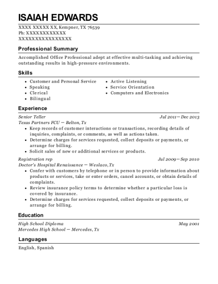 Senior Teller resume sample Texas
