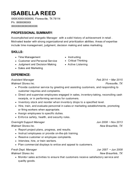 Assistant Manager resume format Texas