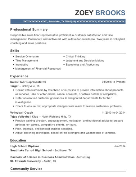 Sales Floor Representative resume template Texas
