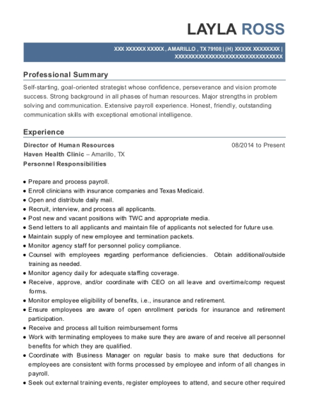 Director of Human Resources resume sample Texas