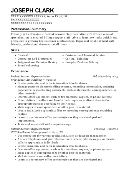 Patient Account Representative resume example Texas