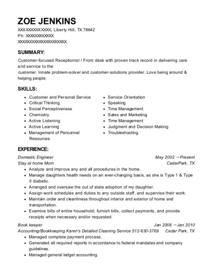 Domestic Engineer resume sample Texas