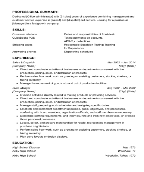 Sales & Dispatch resume sample Texas