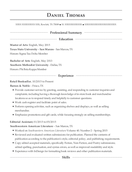 Retail Bookseller resume template Texas