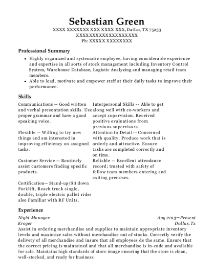 Night Manager resume sample Texas