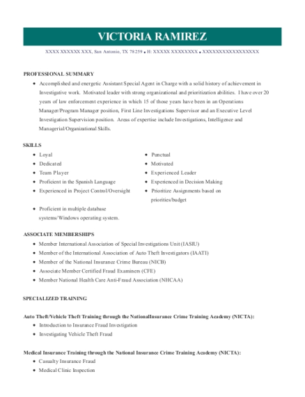 Assistant Special Agent in Charge resume format Texas