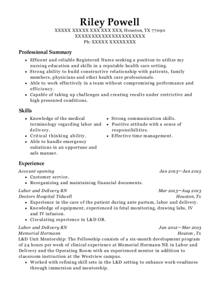 Account opening resume example Texas