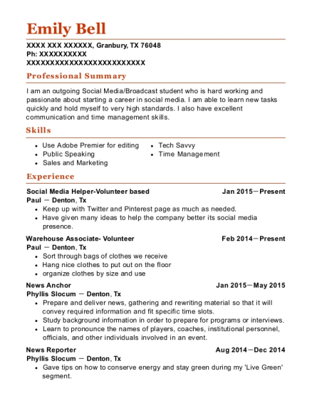 Social Media Helper Volunteer based resume example Texas