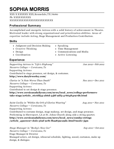 Supporting Actress in Lifes Highway resume example Texas