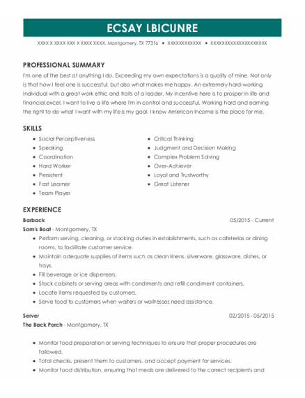 Barback resume template Texas