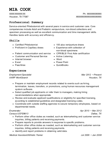 Employment Specialist resume template Texas