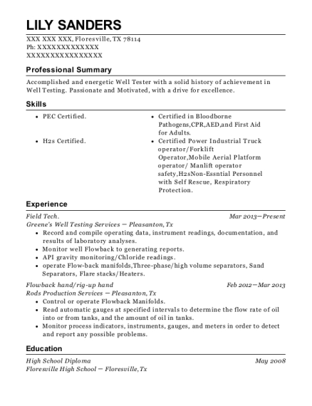 Field Tech resume example Texas