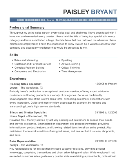 the home depot flooring sales specialist resume sample