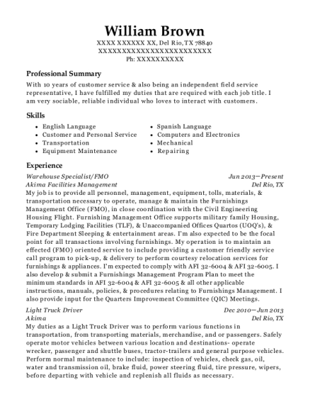 Warehouse Specialist resume format Texas