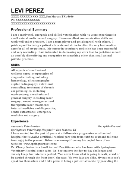 Associate Veterinarian resume sample Texas
