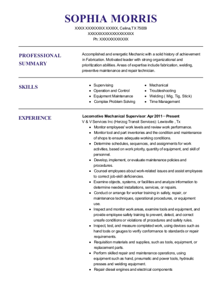 Locomotive Mechanical Supervisor resume example Texas