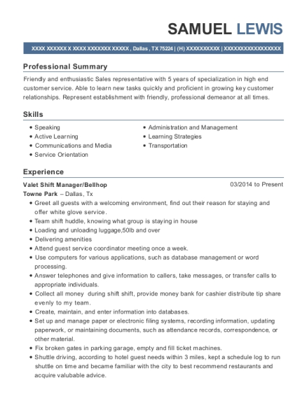 Valet Shift Manager resume sample Texas