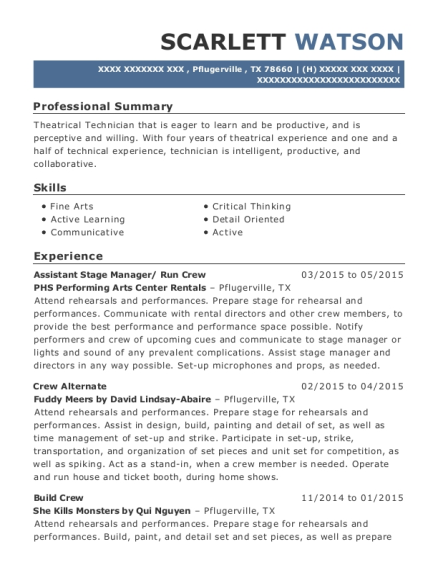 Assistant Stage Manager resume example Texas