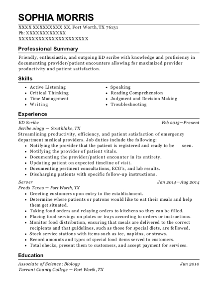 ED Scribe resume sample Texas