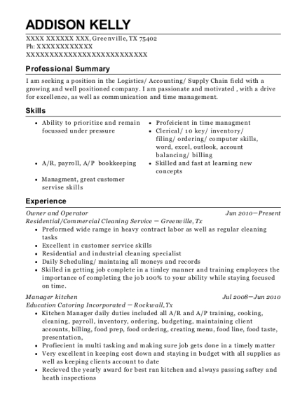 Owner and Operator resume sample Texas