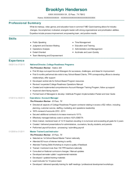 National Director resume template Texas