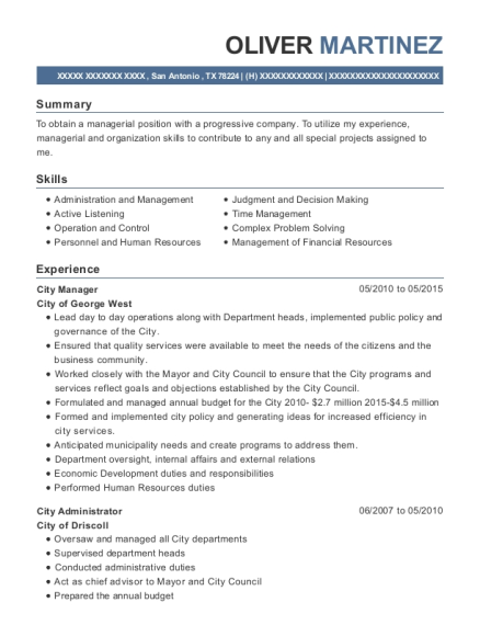 City Manager resume example Texas