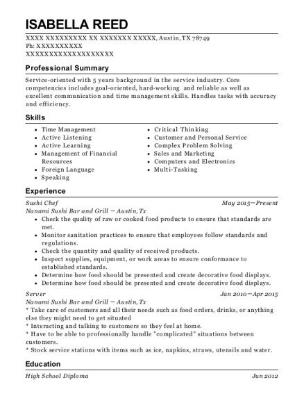 Sushi Chef resume example Texas