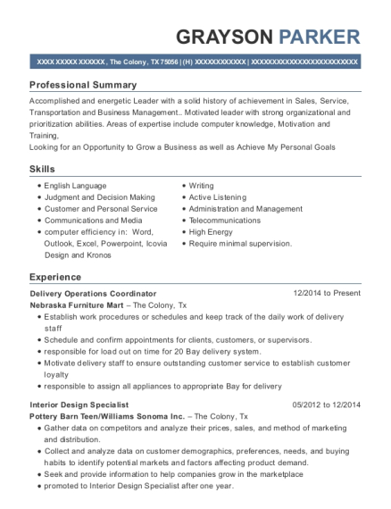 Delivery Operations Coordinator resume sample Texas
